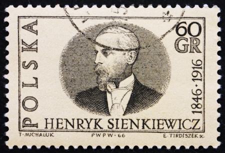 POLAND - CIRCA 1966: a stamp printed in the Poland shows Henryk Sienkiewicz, Author and Winner of 1905 Nobel Prize, circa 1966 Stock Photo - 14612518