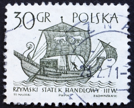 3rd ancient: POLAND - CIRCA 1963: a stamp printed in the Poland shows 3rd Century Merchantman, Ancient Ship, circa 1964