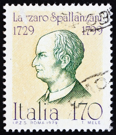 physiologist: ITALY - CIRCA 1979: a stamp printed in the Italy shows Lazzaro Spallanzani, Physiologist, Famous Italian, circa 1979
