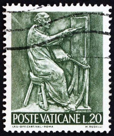 VATICAN - CIRCA 1966: a stamp printed in the Vatican shows Pope Paul VI, Painter, Bas-relief by Mario Rudelli from the Chair in the Pope's Private Chapel, circa 1966 Stock Photo - 14682865