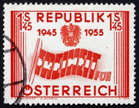 AUSTRIA - CIRCA 1955: a stamp printed in the Austria shows Letters forming Flag, 10th Anniversary of Austrias Liberation, circa 1955