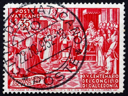 VATICAN - CIRCA 1951: a stamp printed in the Vatican shows Council of Chalcedon, 1500th Anniversary, circa 1951