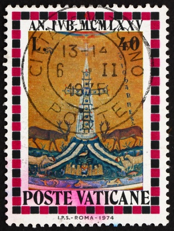 surmounted: VATICAN - CIRCA 1974: a stamp printed in the Vatican shows Cross Surmounted by Dove, Holy year, circa 1974