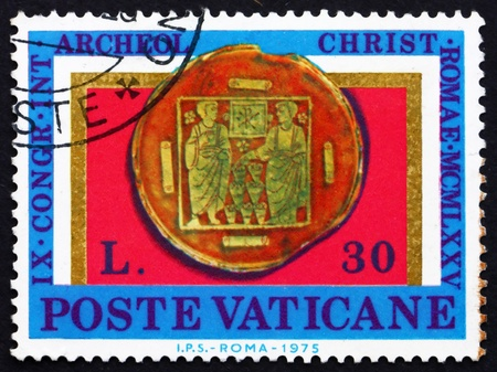 VATICAN - CIRCA 1975: a stamp printed in the Vatican shows Miracle of Loaves and Fishes, Gilt Glass, 9th International Congress of Christian Archaeology, circa 1975