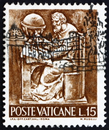 VATICAN - CIRCA 1966: a stamp printed in the Vatican shows Pope Paul VI, Cartographer, Bas-relief by Mario Rudelli from the Chair in the Pope Stock Photo - 14681548