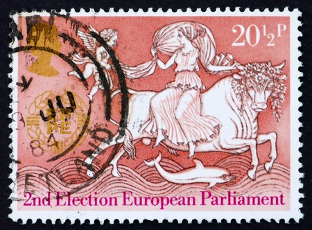 GREAT BRITAIN - CIRCA 1984: a stamp printed in the Great Britain shows Abduction of Europa, 2nd Election of the European Parliament, circa 1984 Stock Photo - 14681559