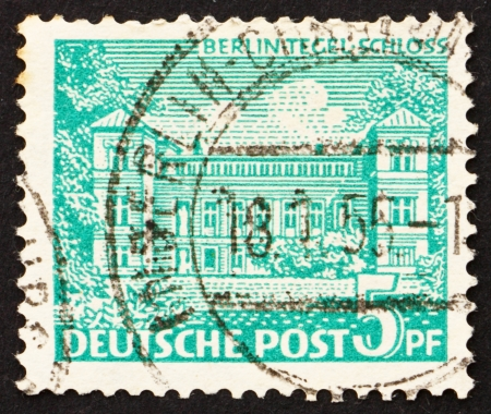 GERMANY - CIRCA 1949: a stamp printed in the Germany, Berlin shows Tegel Castle, Berlin, circa 1949 Stock Photo - 14681563