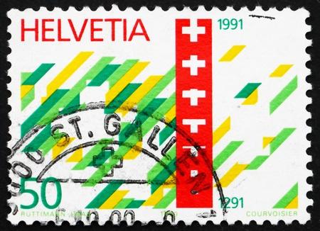 confederation: SVIZZERA - CIRCA 1990: un timbro stampato in Svizzera mostra Francobollo Confederazione Svizzera, 700 � anniversario, circa 1990