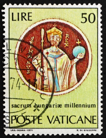 VATICAN - CIRCA 1971: a stamp printed in the Vatican shows St.Stephen, from Chasuble, Millenium of the Birth of St. Stephen, King of Hungary, circa 1971