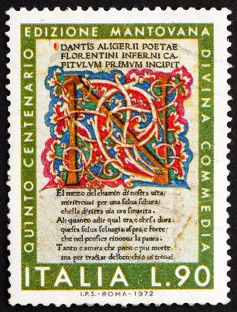 dante alighieri: ITALY - CIRCA 1972: a stamp printed in the Italy shows Illuminated First Page from Divine Comedy, Dante Alighieri, Mantua Edition, 500th Anniversary, circa 1972 Editorial