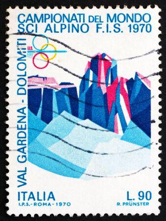 bolzano province: ITALY - CIRCA 1970: a stamp printed in the Italy shows Sassolungo and Sella Group, Dolomite Alps, World Alpine Ski Championships, Val Gardena, Bolzano Province, circa 1970 Editorial