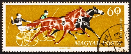 trotters: HUNGARY - CIRCA 1961: a stamp printed in the Hungary shows Two Trotters, Horse Racing, circa 1961