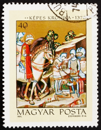 chronicle: HUNGARY - CIRCA 1971: a stamp printed in the Hungary shows Beheading of Heathen Chief Koppany, History of Hungary, from Illuminated Chronicle of King Louis the Great, circa 1971