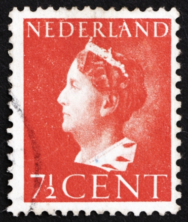 wilhelmina: NETHERLANDS - CIRCA 1940: a stamp printed in the Netherlands shows Queen Wilhelmina, circa 1940