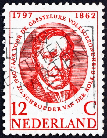 physiologist: NETHERLANDS - CIRCA 1960: a stamp printed in the Netherlands shows Jacobus Conradus Schroeder van der Kolk, Pioneer of Mental Health, circa 1960 Editorial