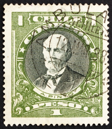 CHILE - CIRCA 1911: a stamp printed in the Chile shows Anibal Pinto, 9th President of Chile, 1876 - 1881, circa 1911 Stock Photo - 14721365