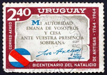 artigas: URUGUAY - CIRCA 1965: a stamp printed in the Uruguay shows Artigas Quotation, Jose Artigas, Leader of the Independence Revolt Against Spain, circa 1965