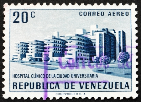 caracas: VENEZUELA - CIRCA 1956: a stamp printed in the Venezuela shows University Hospital, Caracas, circa 1956