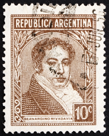 ARGENTINA - CIRCA 1942: a stamp printed in the Argentina shows Bernardino Rivadavia, The First President of Argentina, 1826 - 1827, circa 1942 Stock Photo - 14755931