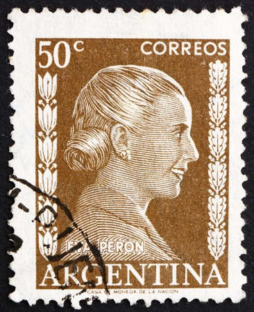 peron: ARGENTINA - CIRCA 1952: a stamp printed in the Argentina shows Maria Eva Duarte de Peron, First Lady of Argentina, circa 1952