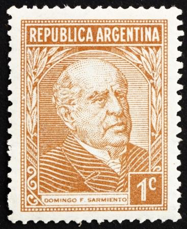 sarmiento: ARGENTINA - CIRCA 1935: a stamp printed in the Argentina shows Domingo Faustino Sarmiento, 7th President of Argentina, 1868 - 1874, circa 1935 Editorial