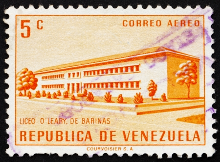 VENEZUELA - CIRCA 1956: a stamp printed in the Venezuela shows O'Leary School, Barinas, circa 1956 Stock Photo - 14755926