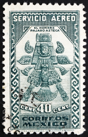 MEXICO - CIRCA 1935: a stamp printed in the Mexico shows Aztec Bird-Man, circa 1935 Editorial