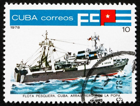 inshore: CUBA - CIRCA 1978: a stamp printed in the Cuba shows Inshore Stern Trawler, Fishing Vessel, circa 1978