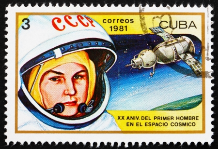 tereshkova: CUBA - CIRCA 1981: a stamp printed in the Cuba shows Valentina Tereshkova, 1st Woman in Space and Vostok 6, 20th Anniversary of 1st Man in Space, circa 1981
