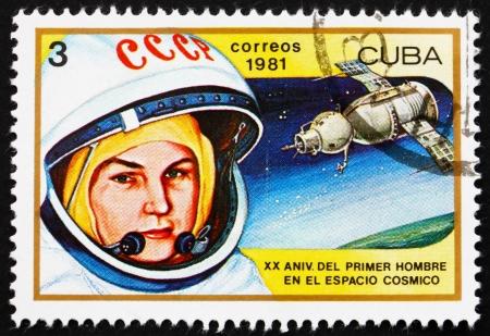 tereshkova: CUBA - CIRCA 1981: un timbro stampato in Cuba mostra Valentina Tereshkova, prima donna nello spazio e Vostok 6, 20 � anniversario del primo uomo nello spazio, circa 1981