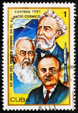 vostok: CUBA - CIRCA 1981: a stamp printed in the Cuba shows Jules Verne, Konstantin E. Tsiolkovski and Sergei P. Korolev, 20th Anniversary of 1st Man in Space, circa 1981