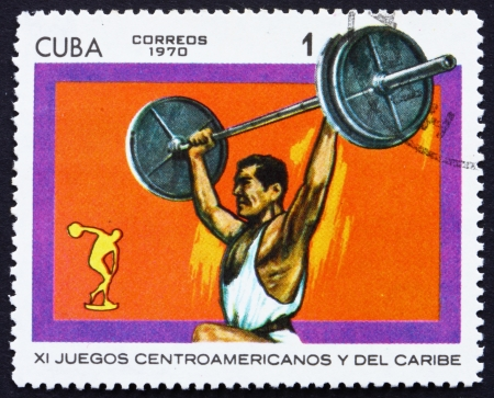 CUBA - CIRCA 1970: a stamp printed in the Cuba shows Weightlifting, 11th Central American and Caribbean Games, Panama, circa 1970
