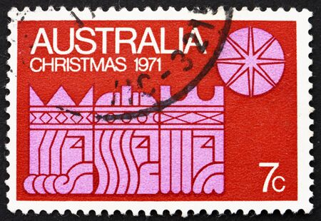 AUSTRALIA - CIRCA 1971: a stamp printed in the Australia shows Three Kings and Star, Christmas, circa 1971