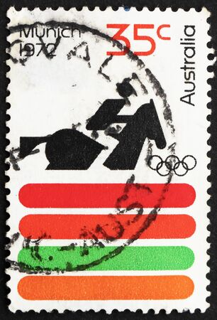 AUSTRALIA - CIRCA 1972: a stamp printed in the Australia shows Equestrian, 20th Olympic Games, Munich, circa 1972