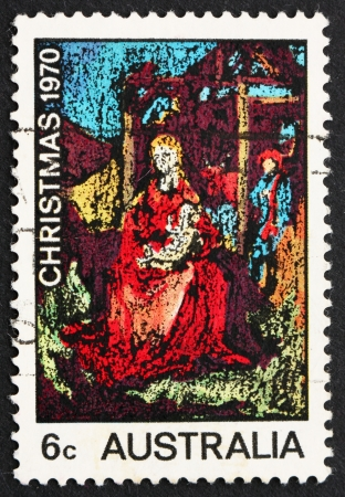 AUSTRALIA - CIRCA 1970: a stamp printed in the Australia shows Madona and Child, Painting by William Beasley, Christmas, circa 1970