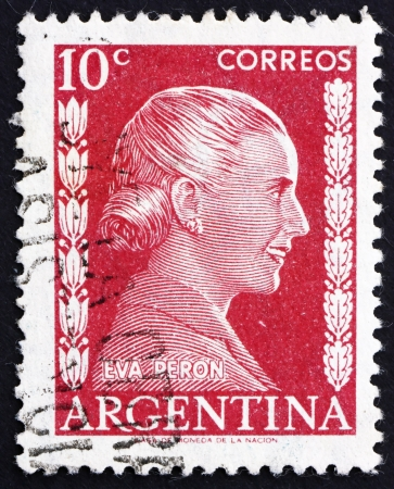evita: ARGENTINA - CIRCA 1952: a stamp printed in the Argentina shows Maria Eva Duarte de Peron, First Lady of Argentina, circa 1952