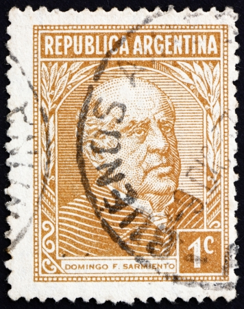ARGENTINA - CIRCA 1935: a stamp printed in the Argentina shows Domingo Faustino Sarmiento, 7th President of Argentina, 1868 - 1874, circa 1935 Stock Photo - 14818447