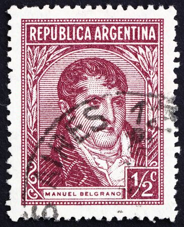 economist: ARGENTINA - CIRCA 1935: a stamp printed in the Argentina shows Manuel Belgrano, Economist, Lawyer, Politician and Military Leader, circa 1935