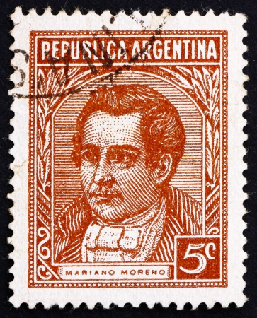 ARGENTINA - CIRCA 1935: a stamp printed in the Argentina shows Mariano Moreno, Lawyer, Journalist and Politician, circa 1935