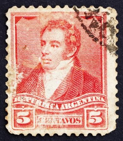 ARGENTINA - CIRCA 1892: a stamp printed in the Argentina shows Bernardino Rivadavia, The First President of Argentina, 1826 - 1827, circa 1892 Stock Photo - 14818435