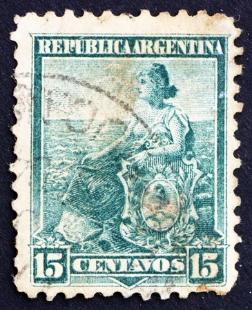 argentinean: ARGENTINA - CIRCA 1901: a stamp printed in the Argentina shows Liberty Seated, Allegory, circa 1901