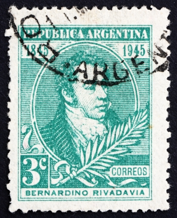 ARGENTINA - CIRCA 1945: a stamp printed in the Argentina shows Bernardino Rivadavia, The First President of Argentina, 1826 - 1827, circa 1945 Stock Photo - 14818450