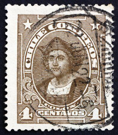 colonizer: CHILE - CIRCA 1918: a stamp printed in the Chile shows Christopher Columbus, Cristobal Colon, Explorer, Colonizer, Navigator, circa 1918 Editorial