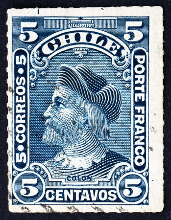 CHILE - CIRCA 1901: a stamp printed in the Chile shows Christopher Columbus, Cristobal Colon, Explorer, Colonizer, Navigator, circa 1901 Stock Photo - 14818441