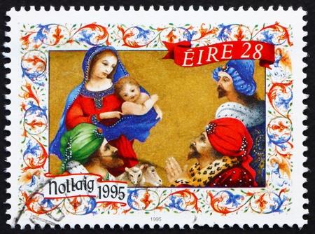 irish christmas: IRELAND - CIRCA 1995: a stamp printed in the Ireland shows Adoration of the Magi, Christmas, circa 1995