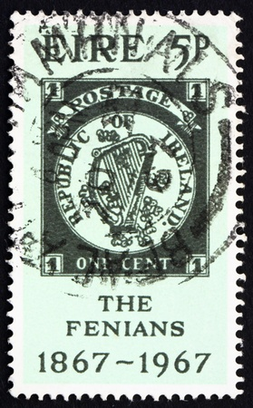 centenary: IRELAND - CIRCA 1967: a stamp printed in the Ireland shows One Cent Fenian Fantasy, Centenary of Fenian Rising, circa 1967