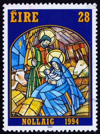 IRELAND - CIRCA 1994: a stamp printed in the Ireland shows Nativity, Stained Glass Nativity Scene, Christmas, circa 1994