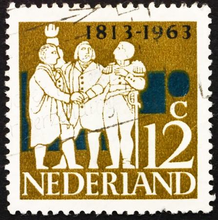 NETHERLANDS - CIRCA 1963: a stamp printed in the Netherlands shows G. K. van Hogendorp, Graf van der Duyn van Maasdam, Graaf van Limburg Stirum, Dutch Leaders, circa 1963