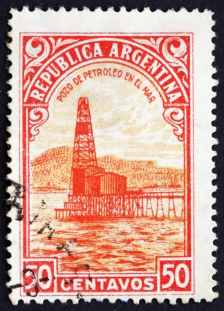 ARGENTINA - CIRCA 1936: a stamp printed in the Argentina shows Oil Well, Petroleum, circa 1936