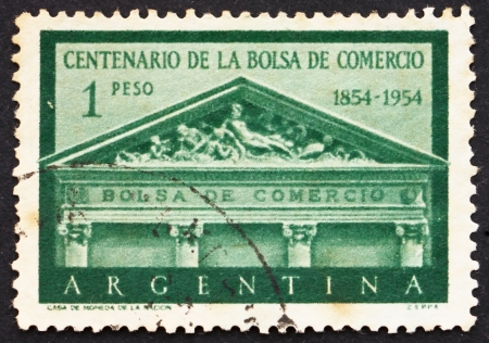 postal office: ARGENTINA - CIRCA 1954: a stamp printed in the Argentina shows Pediment, Buenos Aires Stock Exchange, Centenary of the Establishment of the Stock Exchange, circa 1954